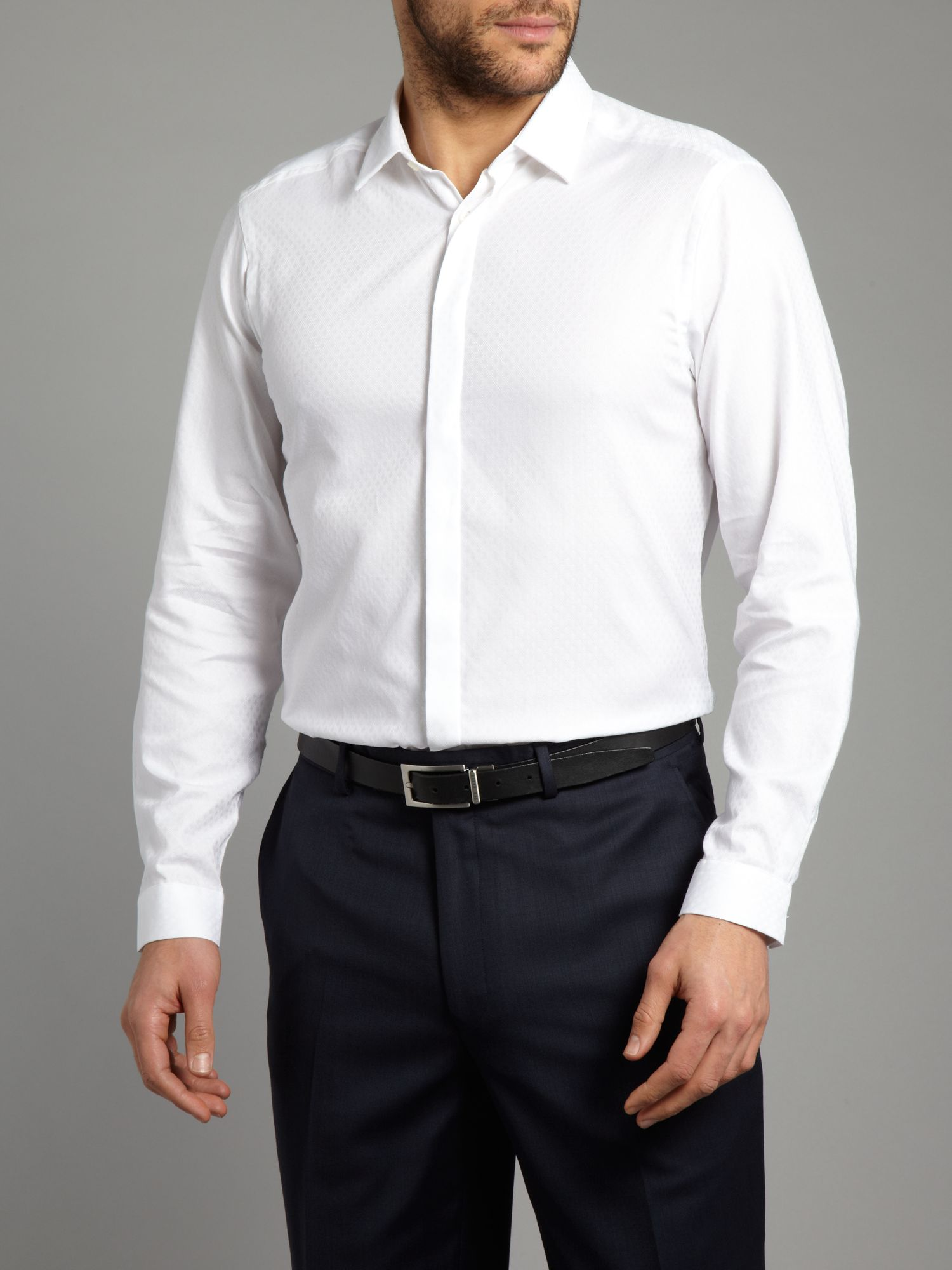 patrick cox longsleeve basket weave formal shirt in white