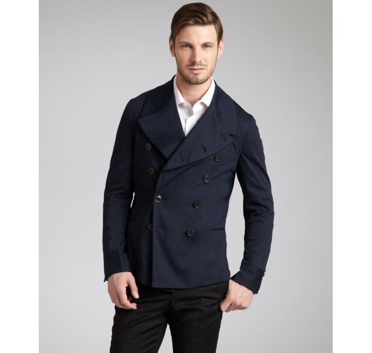 Paul smith Navy Cotton Double Breasted Peacoat in Blue for Men   Lyst