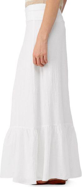 splendid linen and jersey maxi skirt in white lyst