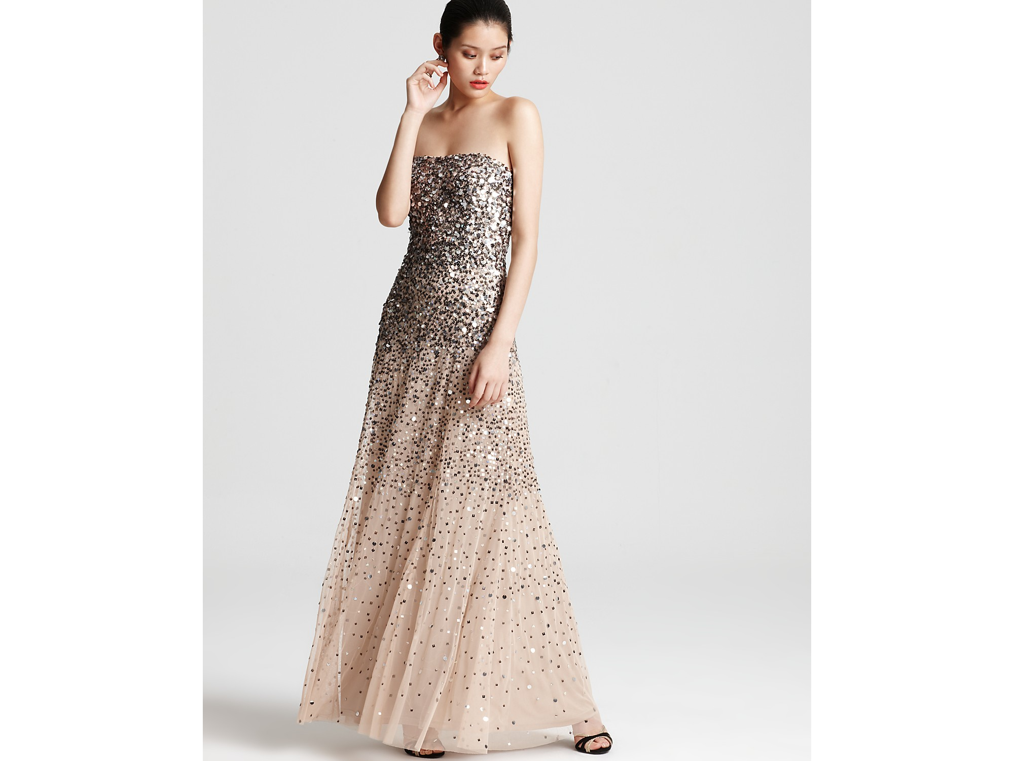 Lyst - Adrianna papell Gown Sequin Strapless in Natural