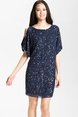 Aidan Mattox Embellished Split Sleeve Shift Dress - Lyst