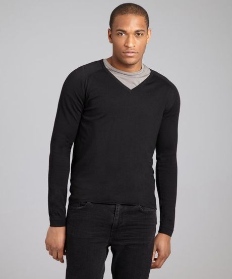 Balenciaga Black Wool Silk Vneck Sweater in Black for Men - Lyst