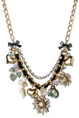 Betsey Johnson Gold Tone Flower Multi Charm Frontal Necklace - Lyst