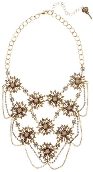 Betsey Johnson Gold Tone Multi Flower Link Frontal Statement Necklace in Gold - Lyst