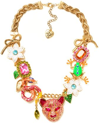 Betsey Johnson Tiger Multi Charm Frontal Statement Necklace - Lyst