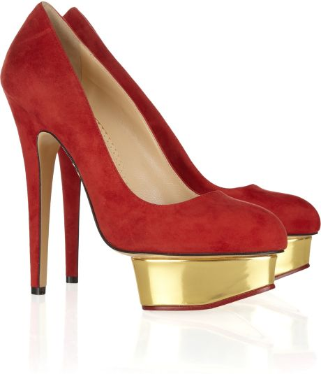 Charlotte Olympia Dolly Suede Platform Pumps in Gold - Lyst