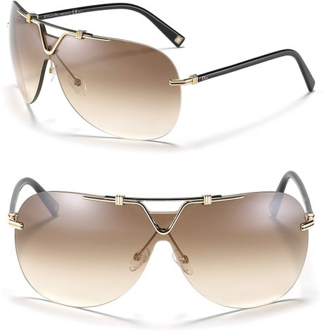 Dior Metal Shield Sunglasses in Brown (black gold) - Lyst