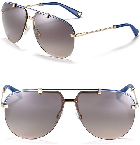 Dior Rimless Aviator Sunglasses in Gold (gold blue) - Lyst