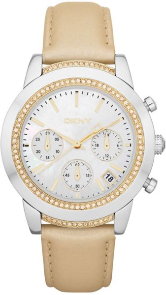 Dkny Womens Chronograph Champagne Leather Strap Watch  in Beige (champagne) - Lyst