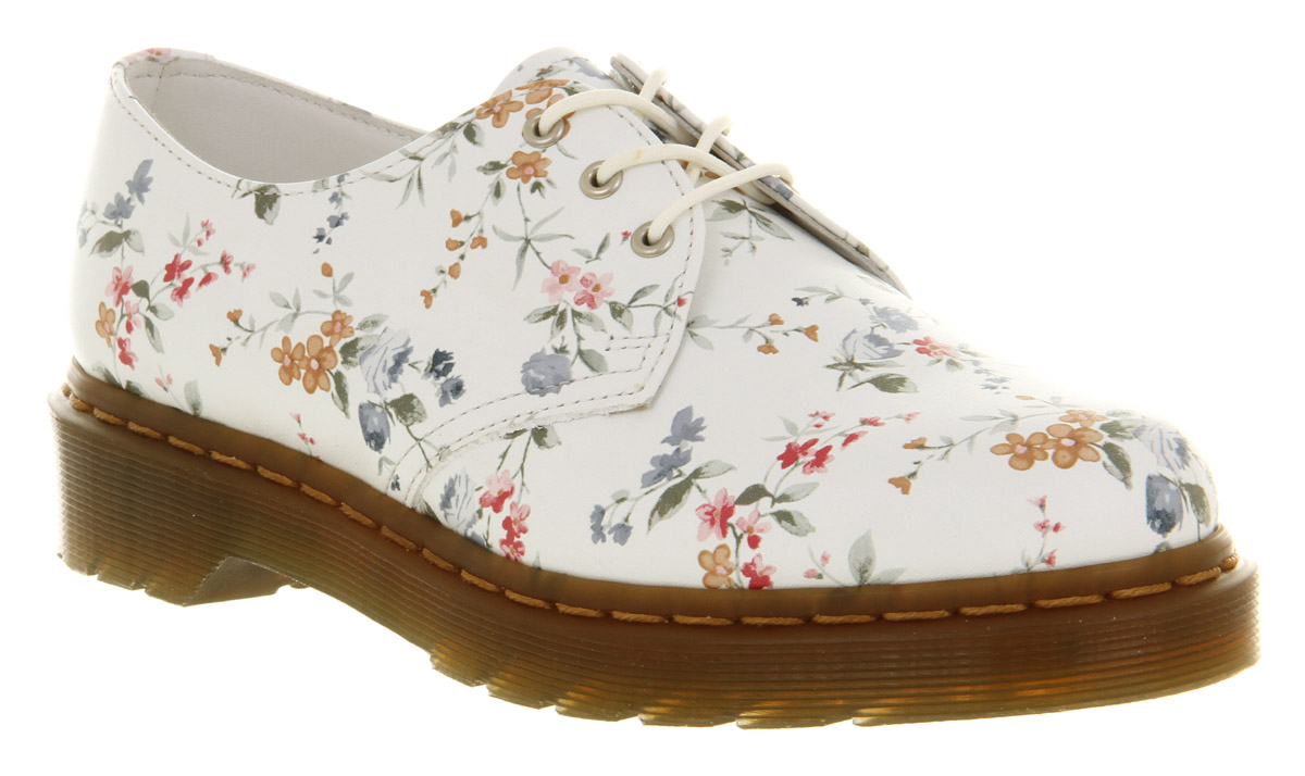 Lyst dr martens 3 eye lace up wild flowers in white gallery mightylinksfo Image collections