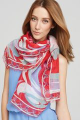 Emilio Pucci Tropicana Oblong Casual Scarf in Red (coral red) - Lyst