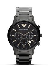 Emporio Armani 316 Stainless Steel Bracelet with Black Dial Watch 43mm - Lyst
