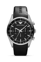 Emporio Armani Black Rubber Strap Watch 43mm - Lyst