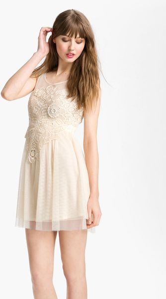 Free People Romantic Crochet Mesh Dress - Lyst