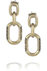 Giles & Brother Goldtone Crystal Chain Earrings - Lyst