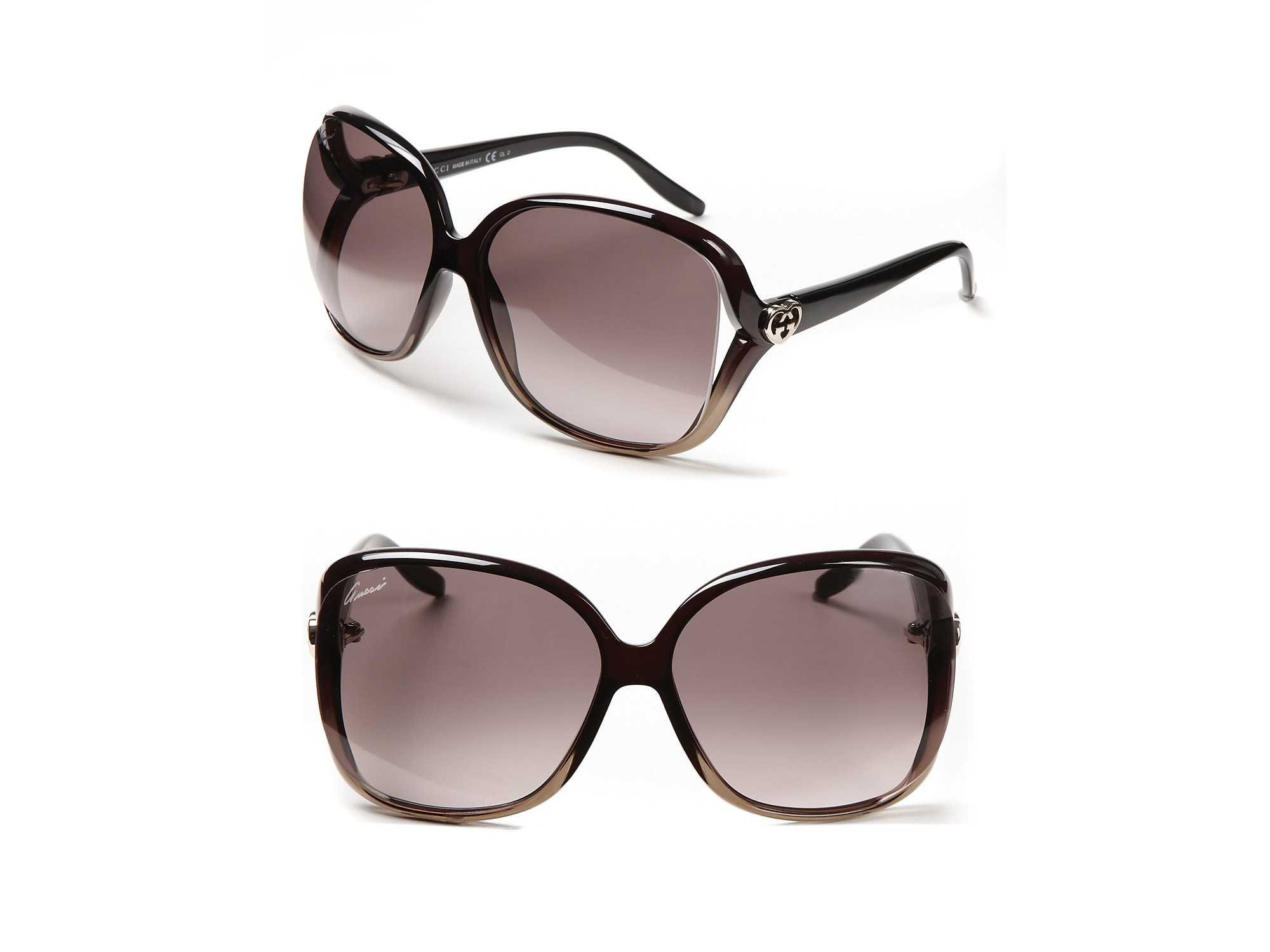 79ed3751f6a Lyst - Gucci Oversize Square Frame Sunglasses with Open Sides in Black