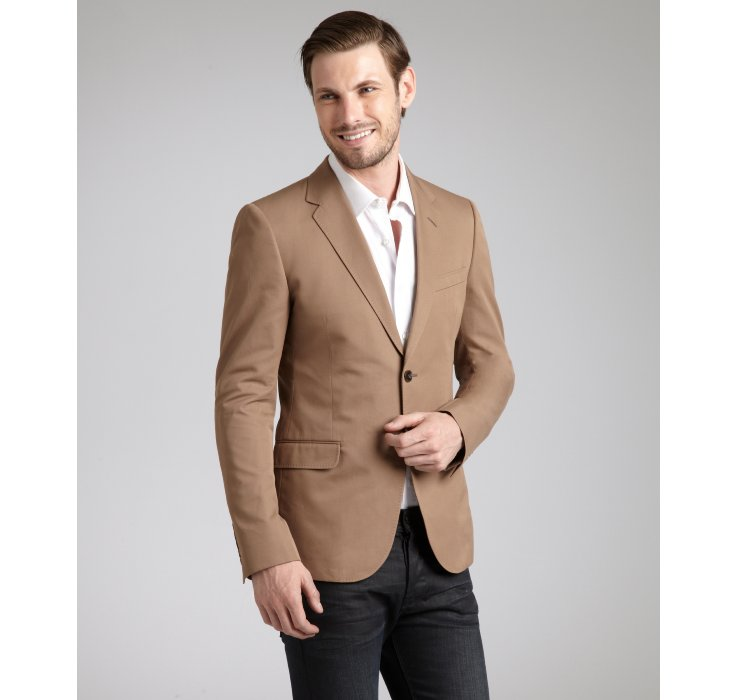 Gucci Light Brown Cotton Twill Two Button Notched Lape Blazer in ...