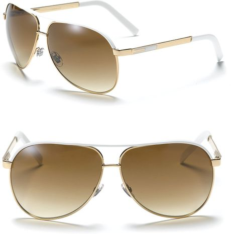 Gucci Aviator Goldwhite Sunglasses with Top Bar in White for Men (gold white)