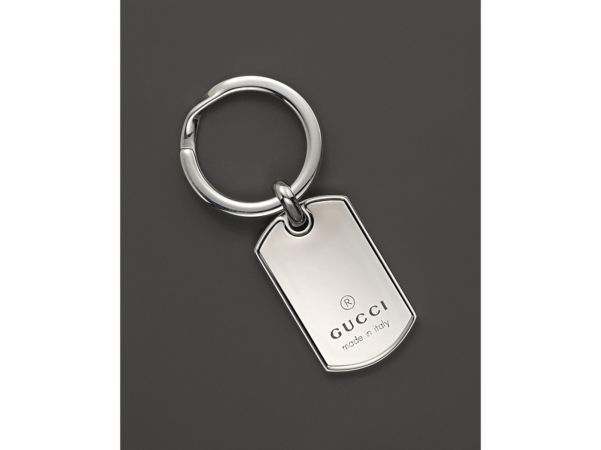 5a83131e2d4 Lyst - Gucci Sterling Silver Dogtag Key Ring in Metallic for Men