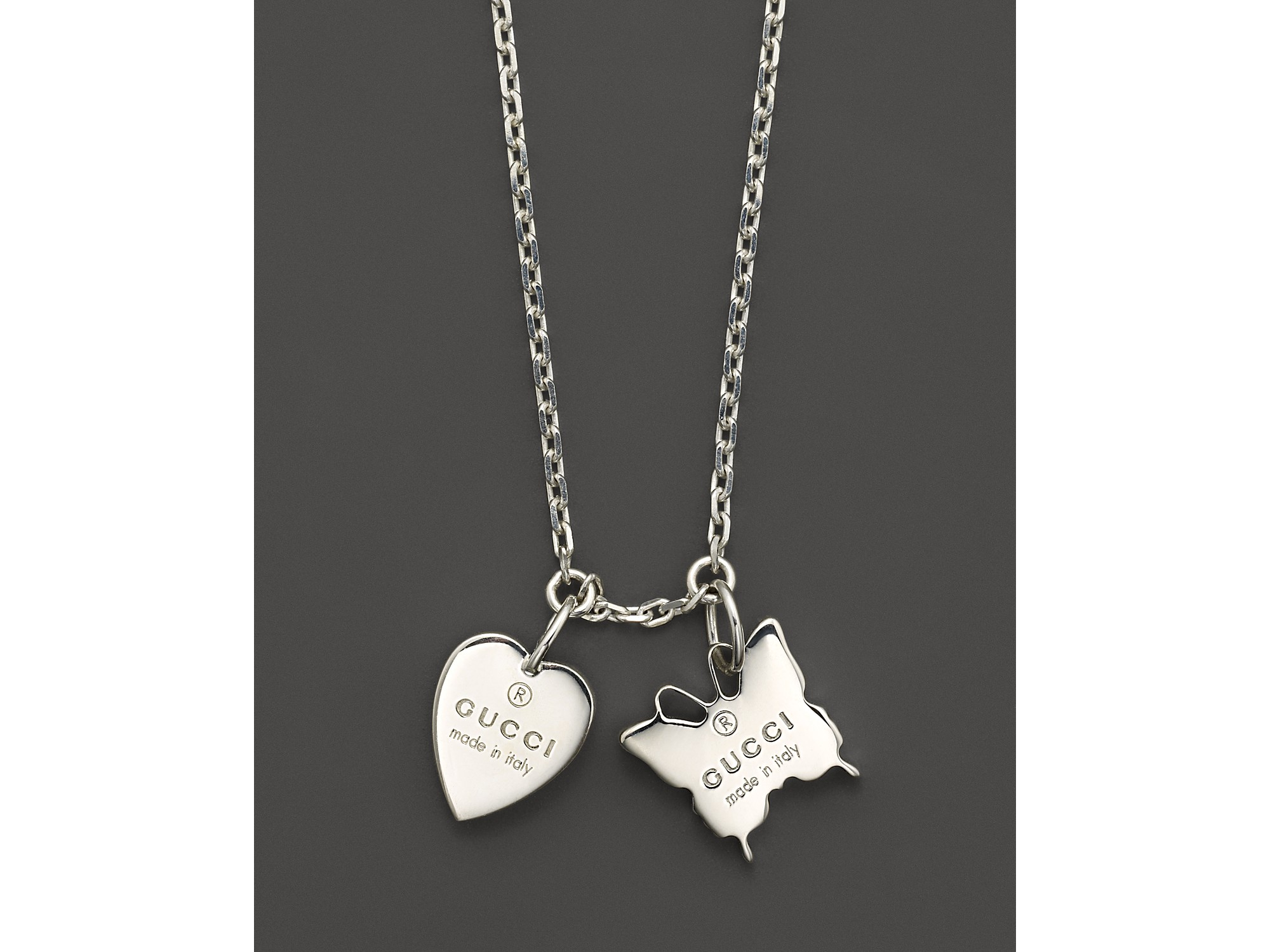 0fbac52c5 Gucci Sterling Silver Trademark Heart and Butterfly Necklace 18 in ...