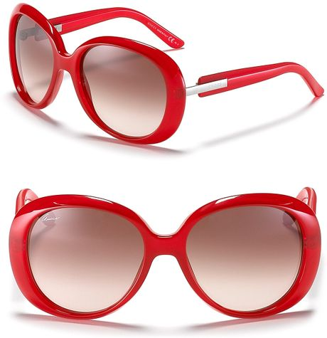 Gucci Red Rounded Oversized Sunglasses in Red - Lyst