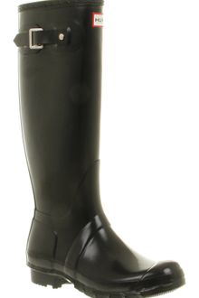 Hunter Original Welly Womens Black Gloss - Lyst