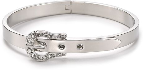 Juicy Couture Luxe Buckle Skinny Bangle in Silver - Lyst