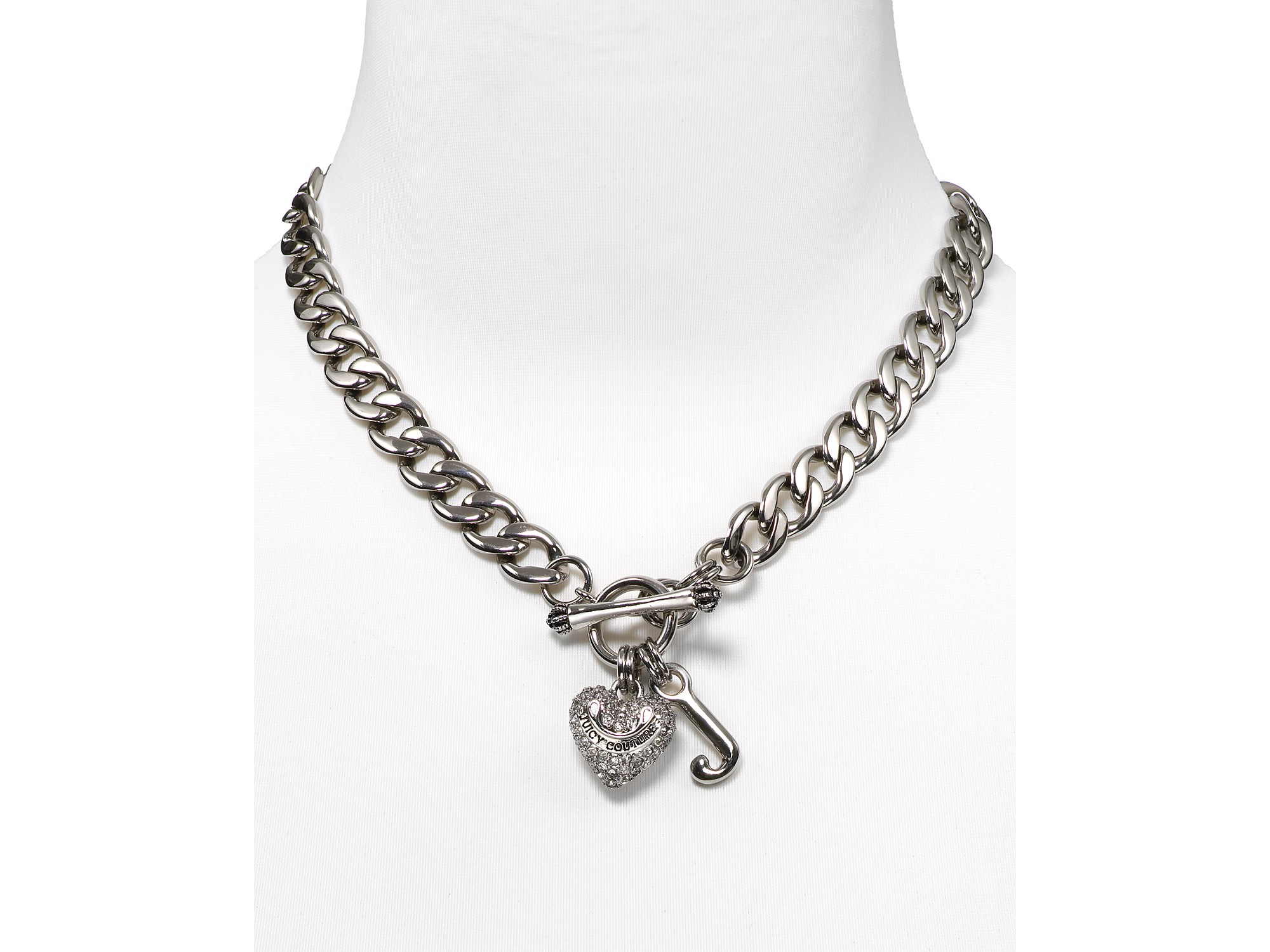 Lyst - Juicy Couture Pavé Heart Starter Charm Necklace in Metallic
