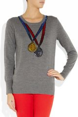 Markus Lupfer Medal Sequined Merino Wool Sweater in Gray - Lyst
