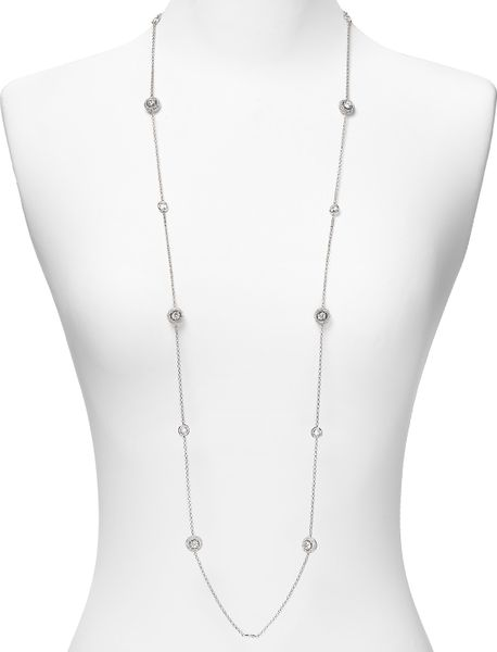 Nadri Pave Rhodium Plated Framed Station Necklace in Silver - Lyst