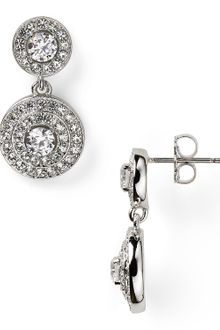 Nadri Rhodium Plated Pave Drop Orbital Earrings - Lyst