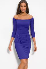 Nicole Miller Off Shoulder Stretch Jersey Sheath Dress - Lyst