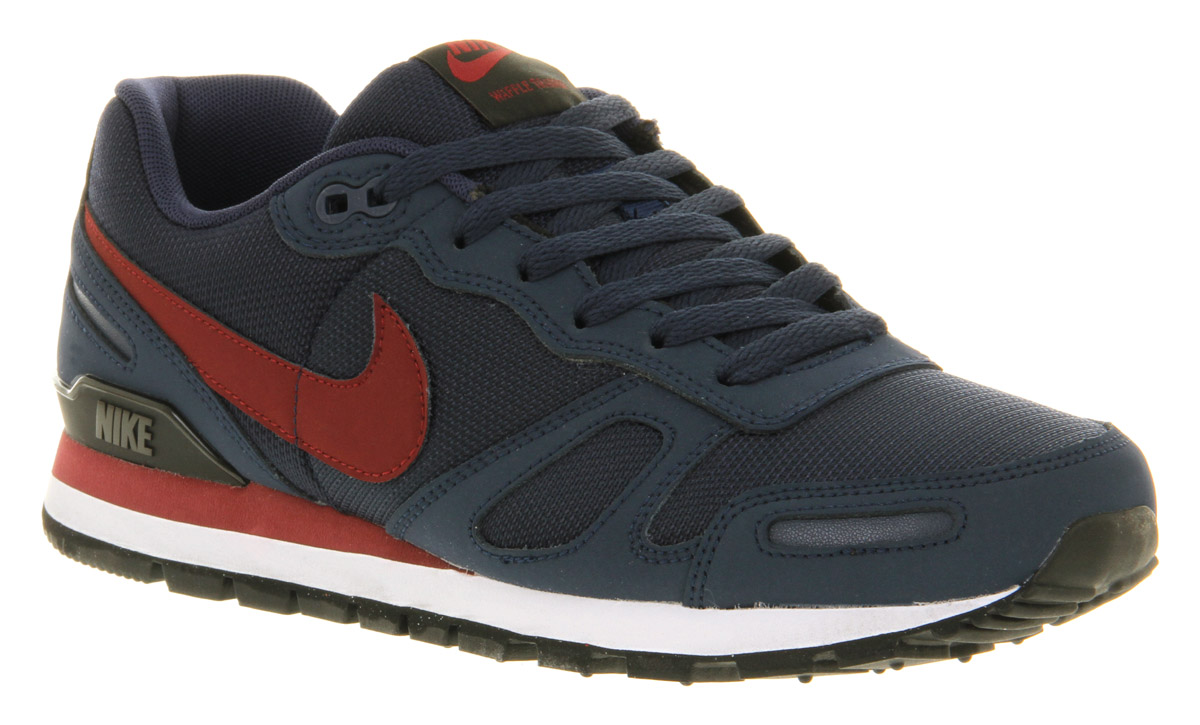 nike air waffle trainer mdnt navyred in blue for men lyst. Black Bedroom Furniture Sets. Home Design Ideas