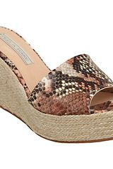 Pied A Terre Pied A Terre Leighton Leather Slide Wedge Sandals Natural - Lyst