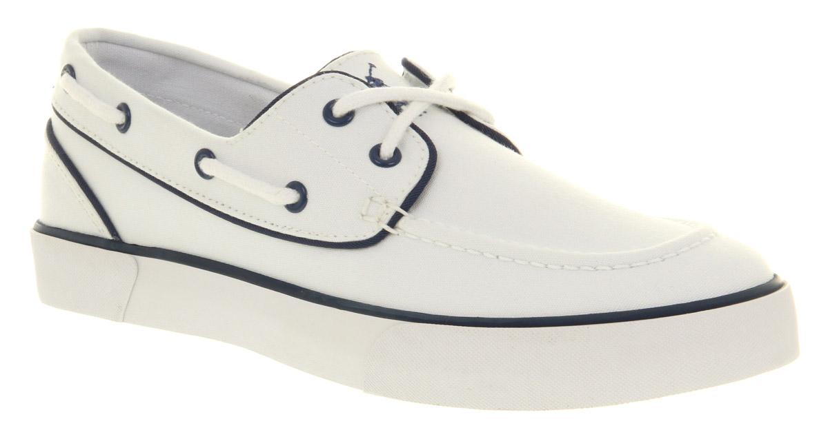 Ralph lauren Lander Canvas Boat Shoe White Canvas in White for Men ...