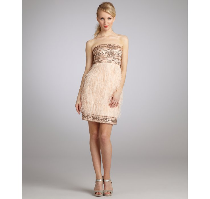 Lyst - Sue Wong Sandalwood Pink Beaded Satin and Ostrich Feather ...