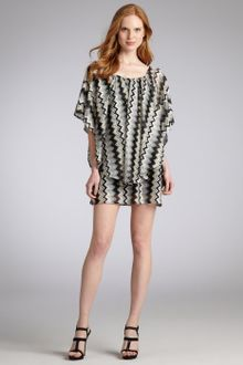 Black  Gold Dress on Gold Gold Black And White Chevron Print Raschel Knit Ruffle Mini Dress