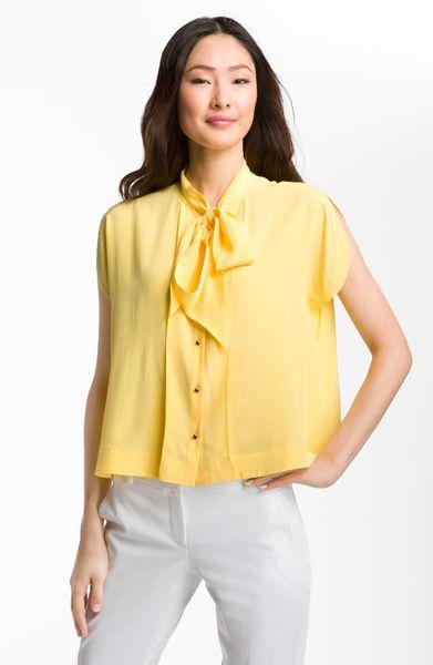 Yellow Tie Neck Blouse 85