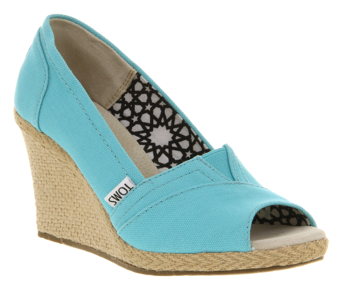500f6da178d Lyst - TOMS Wedge Peeptoe Aqua Canvas in Blue