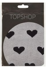 Topshop Black Heart Sheer Tights in Black - Lyst