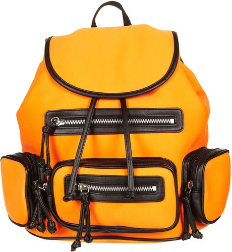 Topshop Neoprene Backpack in Orange - Lyst