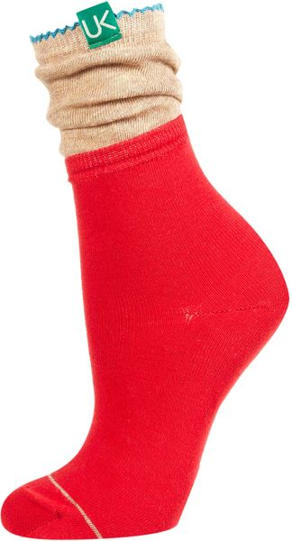 Topshop Urban Knit Slouch Ankle Socks in Red - Lyst