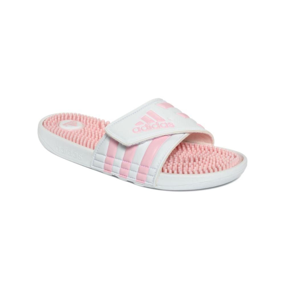adidas slide sandals in pink running white