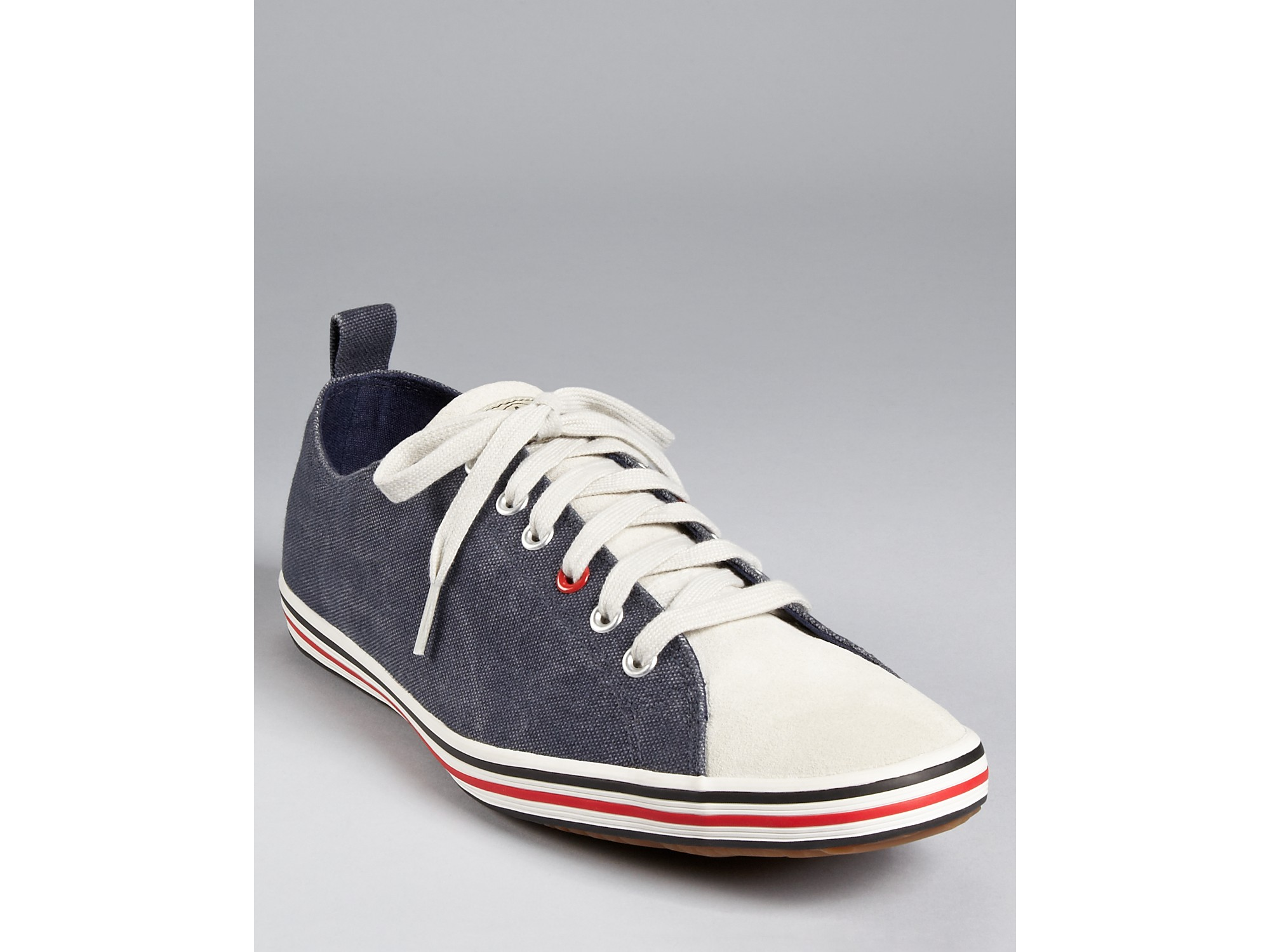 ash paul smith musa royal navy washed canvas sneakers in