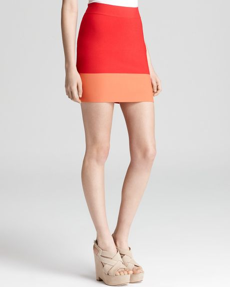Bcbgmaxazria Skirt Joelle Color Block in Red (red berry combo) - Lyst