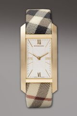 Burberry Check-strap Rectangular Watch, Golden - Lyst
