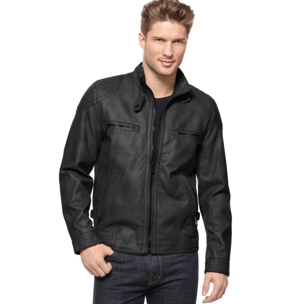 d389b1125b3a Lyst - Calvin Klein Faux Leather Moto Jacket in Black for Men