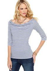 Calvin Klein Jeans Three Quarter Sleeve Striped Boatneck in Blue (black) - Lyst