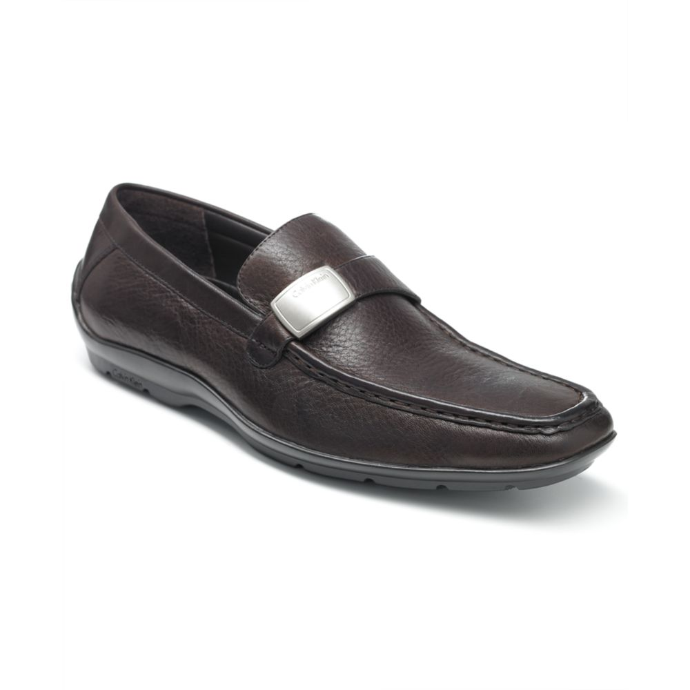 calvin klein heron strap slip on loafers in black for men. Black Bedroom Furniture Sets. Home Design Ideas