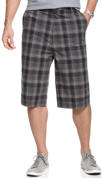 Calvin Klein Dark Plaid Shorts - Lyst